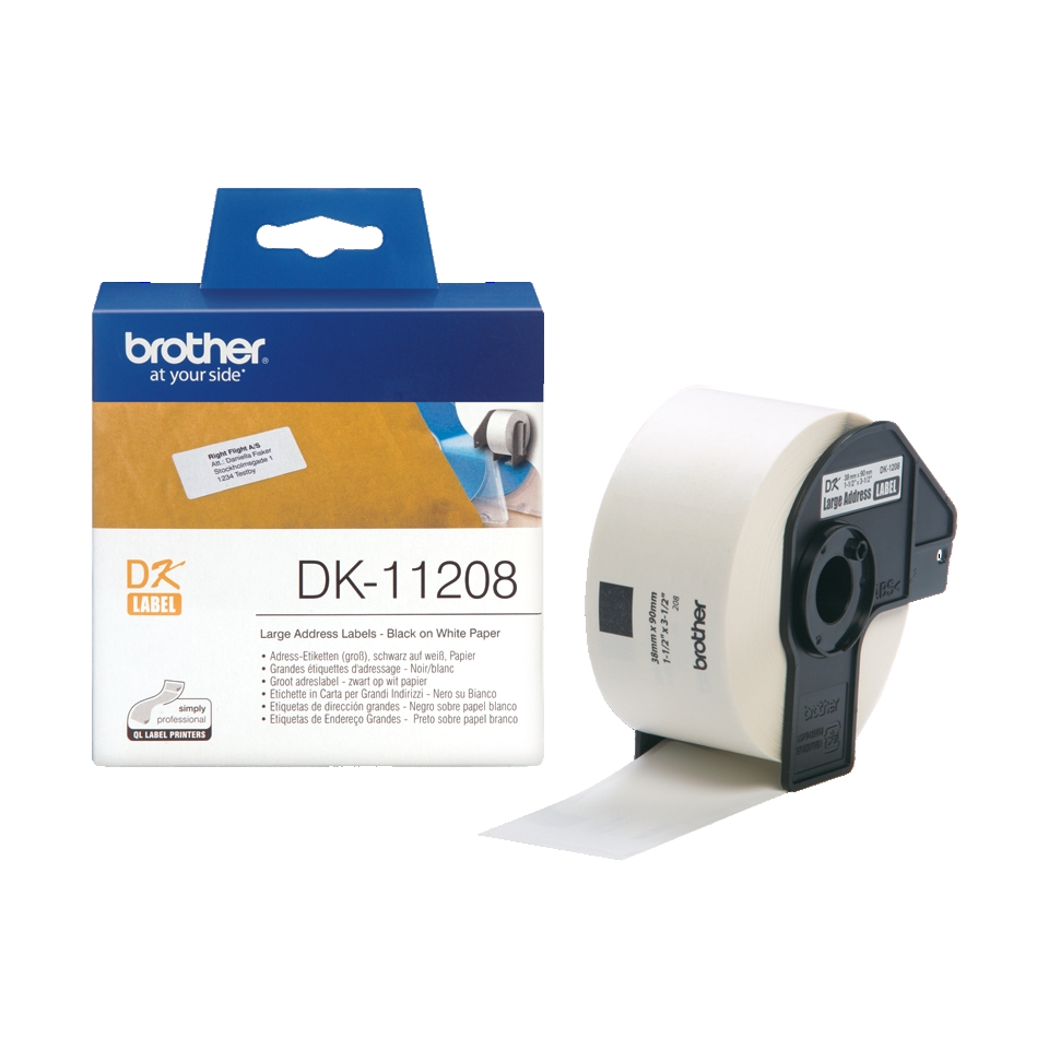 Консуматив Brother DK-11208 Large Address Paper Labels, 38mmx90mm, 400 labels per roll, (Black on White)  SN: DK11208