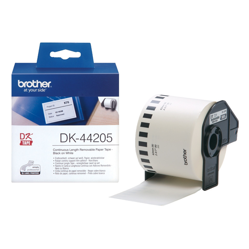 Консуматив Brother DK-44205 White Removable Paper Tape 62 mm x 30.48 m, Black on White  SN: DK44205